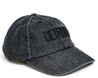black washed denim Detroit snapback hat