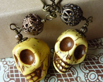 Yellow Day of the Dead Skull Earrings with Brass