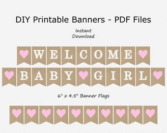 Welcome Baby Girl Banner - Burlap, Baby Pink & White - Heart - Rustic Baby Shower - PRINTABLE - INSTANT DOWNLOAD