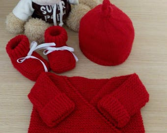 Baby jacket set booties bonnet 0/3 months