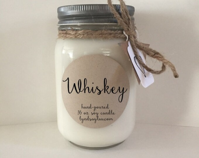 Handmade, Hand Poured, all Natural, Whiskey, 100% Soy Candle in 16 oz. Glass Mason Jar with Cotton Wick