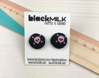 Button Earrings Fabric Pink Skulls
