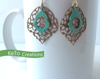 Brass And Turquoise Earrings, Brass Filigree And Turquoise Earrings