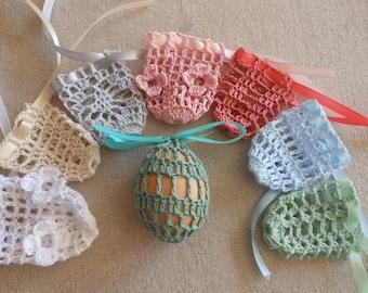Crochet Easter Egg Cover, Set of 8 Hand Crocheted Easter Eggs Easter Decoration Pastel Colors