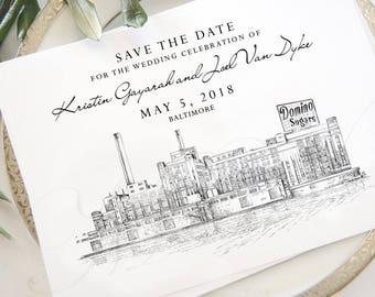Baltimore Skyline Save the Dates, Save the Date Cards, Wedding, STD, Baltimore Wedding, Save the Date, Maryland, Domino Sugar Building