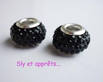 2 metal black 12mm rhinestone beads