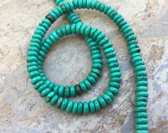 Turquoise Rondelles, Turquoise Beads, 16 inch strand, 6mm
