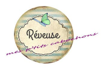 25 mm - beautiful dreamer Ref glass cabochon 2