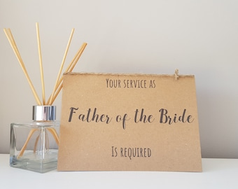 Father of the Bride Card, Card for Dad of the Bride, Bride's Father Card, Rustic Wedding party card, Will you be my, Your Service As A