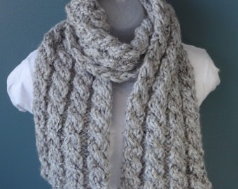 Soft Bulky Cable Knit Scarf Ready to Be Shipped