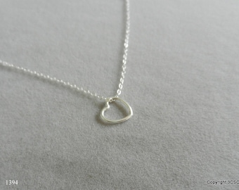 Sterling Silver floating Heart Necklace for Valentines Day