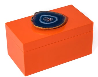 Large Orange Lacquer Box with Blue Agate