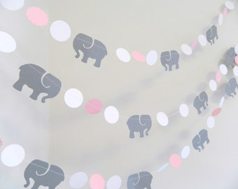 Pink grey elephant Etsy