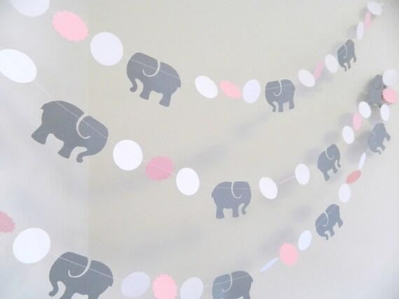Pink Gray Elephant baby shower Decorations Gray Elephant