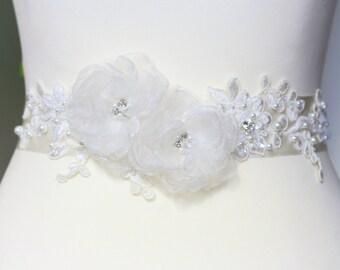 Bridal ivory sash, floral sash, flowers sash wedding pearls rhinestone sash, ivory flower romantic wedding accessories lace