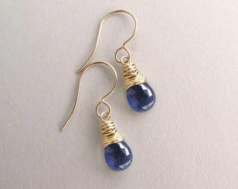 Genuine Blue Sapphire earrings, September birthstone earrings, Petite drop earrings,  gemstone earring, dainty earrings, yellow or rose gold