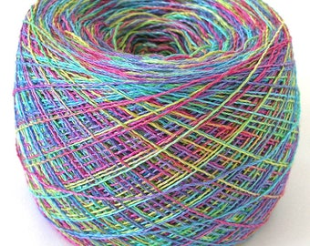 Hand Dyed Yarn Rayon Cotton Yarn Lace Weight Yarn 1120 yards Colorful Rainbow Variegated Space Dyed Soft Shiny - Tropical