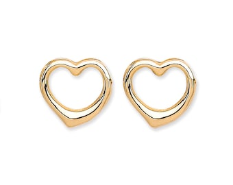 9ct Yellow Gold Open Heart Stud Earrings 6x6mm