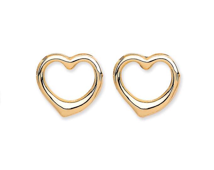 9ct Yellow Gold Open Heart Stud Earrings 6x6mm