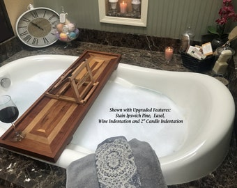 Wood Bath Tub Tray with optional wine holder. Bathtub Tray Shelf,  Luxury Bathtub Tray, Bath Caddy Rectangle Pattern.