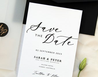 Loraina Calligraphy Save the Date Cards, Digital File or Printed Cards, Black Envelopes, Velum Cover Save the Date, Stickers