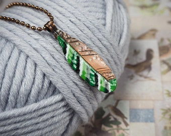 modern boho style pendant, green feather pendant, enameled copper feather, bohemian, nature inspired, gift for her, copper jewelry