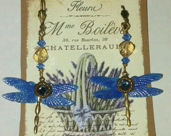 Enameled Art Nouveau Dragonflies With Rhinestones Hanging from Swarovski Crystals