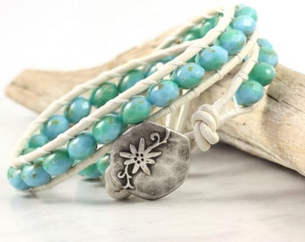 Sea Green Bracelet Blue Wrap Bracelet Boho Jewelry Beaded Bracelet White Distressed Leather Wrap Bracelet Turquoise Bohemian Jewelry