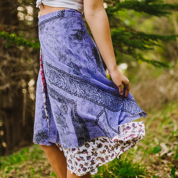7c94af50a83 Boho Skirt Tea Length Gypsy Skirt Magic Skirt Reversible