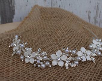 Bridal Headband with Pearls, Rhinestones, and Flowers/ Flowergirl Headband