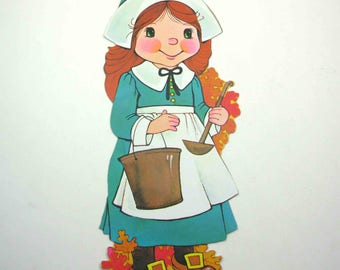 Vintage Female Pilgrim with Bucket Ladle and Leaves Die Cut Cardboard Thanksgiving Decoration