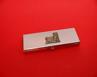 Yorkshire Terrier Pewter Motif on Seven Day Pill Box Ideal Gift