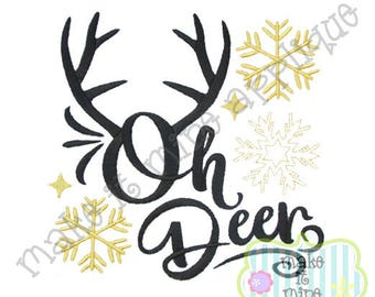 Applique Embroidery Oh Deer Winter Christmas Holiday Machine Applique Design