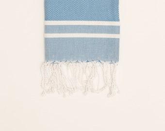Hiba Towel in Blue, blue towel, handmade towel, handwoven, kitchen towel, bathroom towel, cotton textiles, cotton towels, gifts,