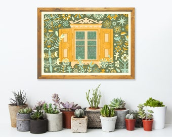 Floral Window Art Print A3 - Housewarming Gift, Christmas Gift, Green Wall Art, Floral Illustration, Home Decor Idea - Inspired by Lithuania