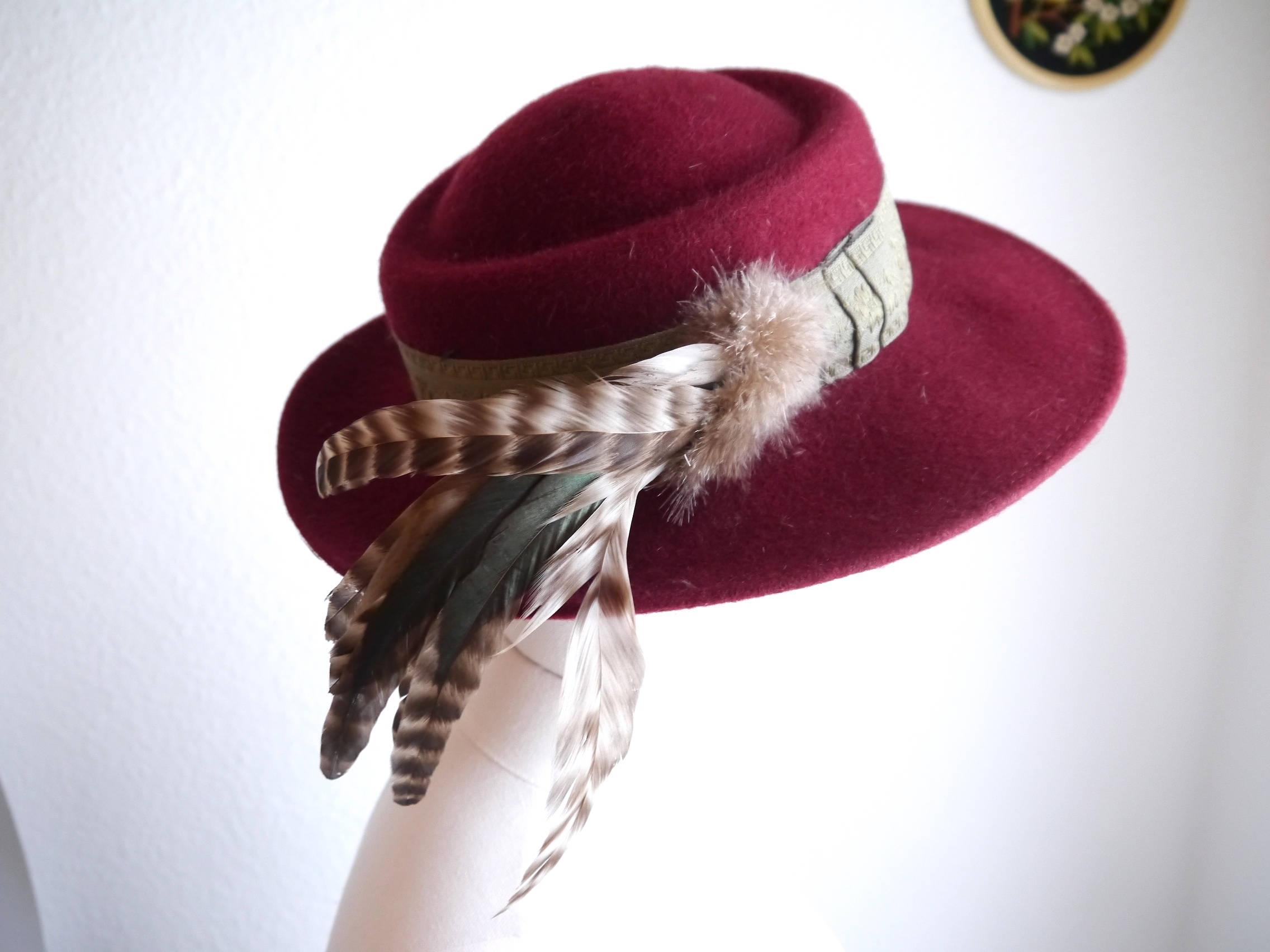 Vintage hat Fedora Burgundy red hat Germany women\'s felt