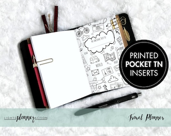 Travel Planner/Memory Keeper Travelers Notebook | Travel Planner Insert | No2/Pocket Size TN Inserts