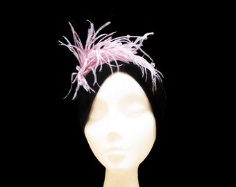 Feather bridal headpiece. Pink and white feather headpiece. Wedding headpiece. Bridal headband. Hair accessory. Flapper headpiece. Gatsby.