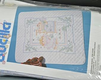 Crib Cover Cross Stitch - Bucilla Gardening Bunnies Crib Cover