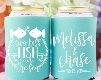 Two Less Fish in the Sea Custom Can Coolers, Fish Wedding, Nautical Wedding Favors for Guests, Tropical Wedding Favors, Cruise Wedding Favor