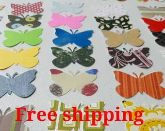 50 Butterfly cutouts. Different colors and paper thickness. 50 butterlies. 50 die cuts. Free shipping.