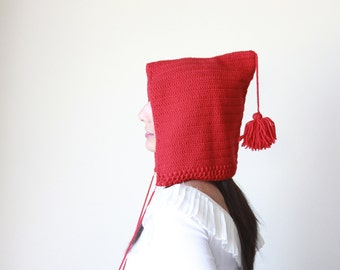 Red Knit Pixie Hat for women, Red pixie hat, Red pixie beanie, Red Gnome hat, Red gnome beanie, Knit hat with pom pom women