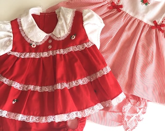 vintage LOT of 2 baby dress set • 0-6M