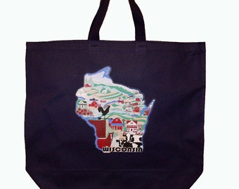 Wisconsin canvas grocery tote bag, market bag, reusable shopping bag, agriculture, country style, farm landscape, 003