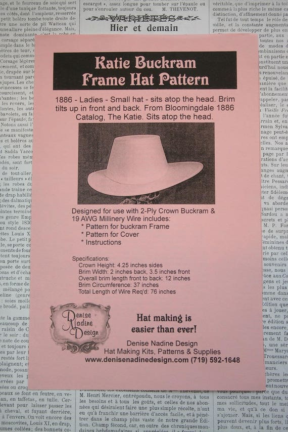 Victorian 19th century Hat Pattern Millinery 1886 hat