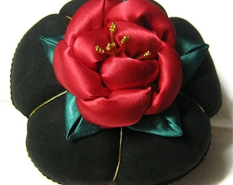 Puffed Rose Pincushion TUTORIAL PATTERN  PDF , Satin Rose,  Flower.  The perfect handmade gift for any occasion .