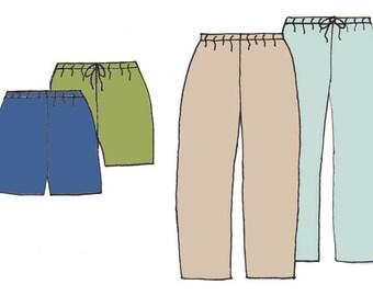 Men's Casual Tie or Elastic Waist Pants/Shorts PDF Pattern