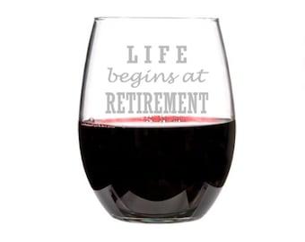 Retirement Gift for Her, Retirement for Him, Etched Retirement Wine Glass, Retirement Party, Retirement Gifts Women, Retired Wine Glass