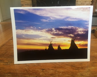 Greeting Card - Tipis at Sunset
