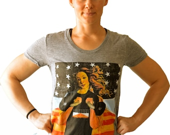 Birth of Venus and Her Kettlebells Shirt for Crossfit Women